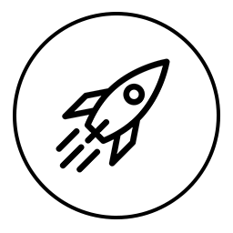 rocket drawing in a circle